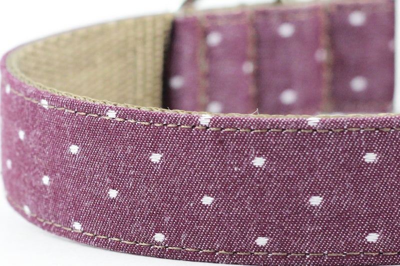 Chambray Burgundy Dot Bowtie Collar