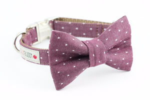 Burgundy polka dot chambray dog bowtie collar.