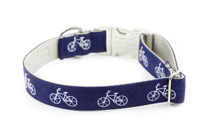 Navy Bicycle Dog Collar