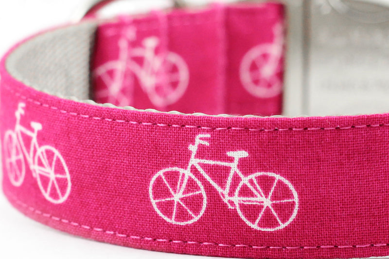 Pink Bicycle Dog Collar