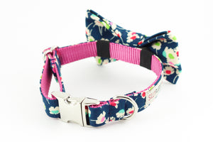 Navy blue, pink and green daisy floral, liberty of london print dog bowtie collar