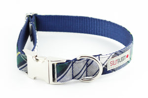 Navy Plaid Dog Collar
