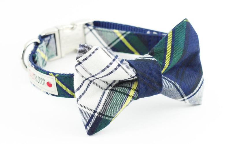 Navy, green and white plaid dog bowtie collar.