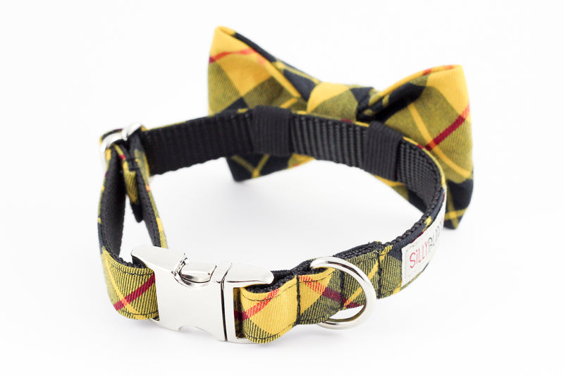 Mustard yellow and black plaid dog bowtie collar.