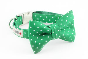 Kelly green polka dot dog bowtie collar.