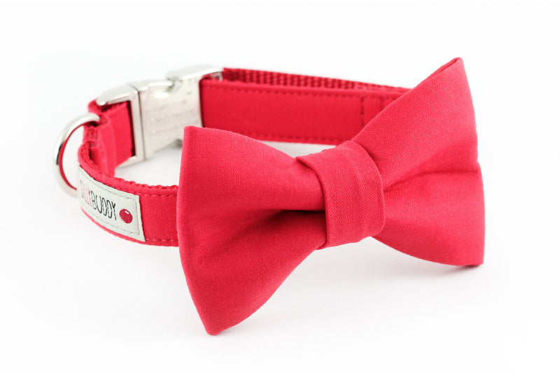 Solid red cotton dog bowtie collar.