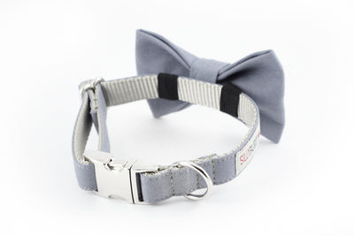 Solid gray cotton dog bowtie collar.