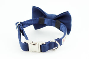 Solid navy cotton dog bowtie collar.