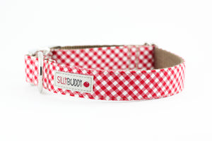 Red Gingham Dog Collar