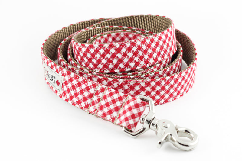 Red Gingham Dog Leash