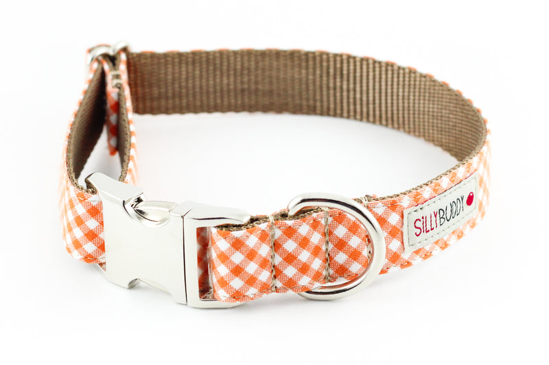Orange Gingham Dog Collar