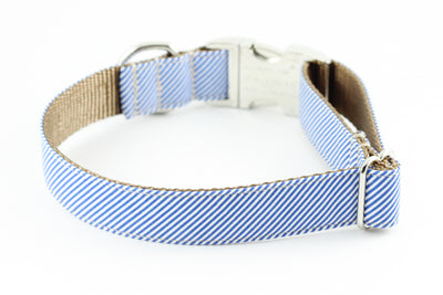 Blue Pinstripe Dog Collar