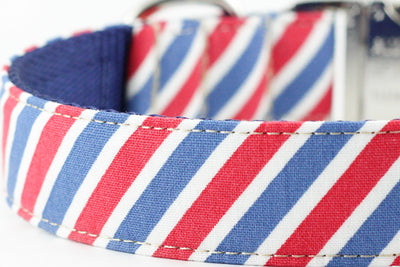 Red White Blue Stripe Dog Collar