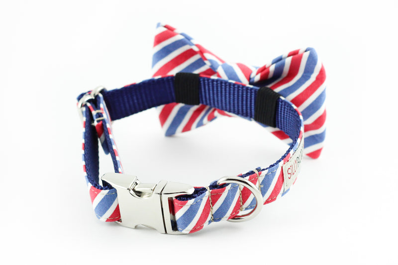 Red white blue flag stripe dog bowtie collar.
