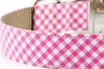 Pink Gingham Dog Collar