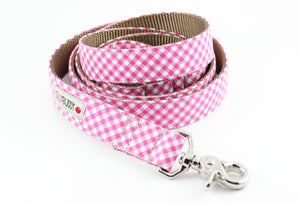 Pink Gingham Dog Leash