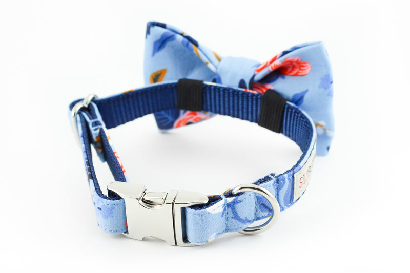 Navy blue, periwinkle and orange floral, rifle paper co. print dog bowtie collar.