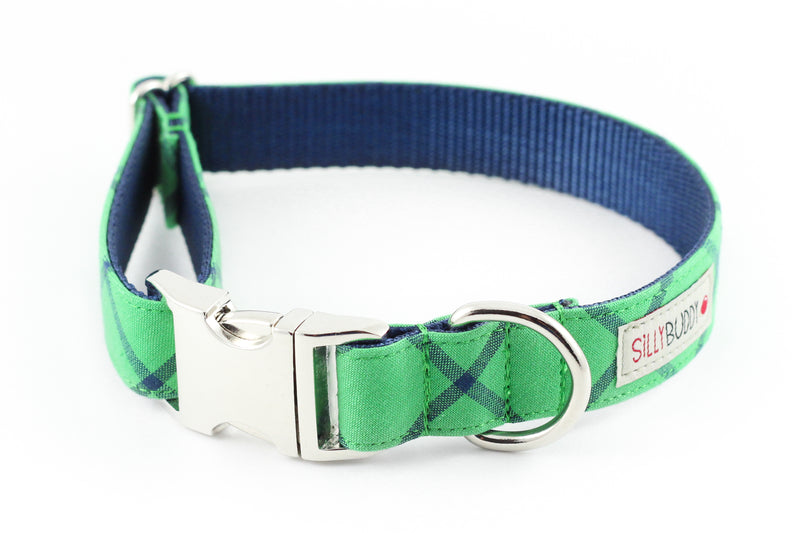 Green Plaid Dog Collar