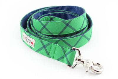 Green Plaid Dog Leash