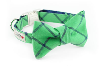 Kelly green and navy blue simple plaid dog bowtie collar.