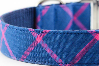 Blue Minimal Plaid Leash
