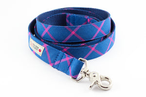 Blue Plaid Dog Leash