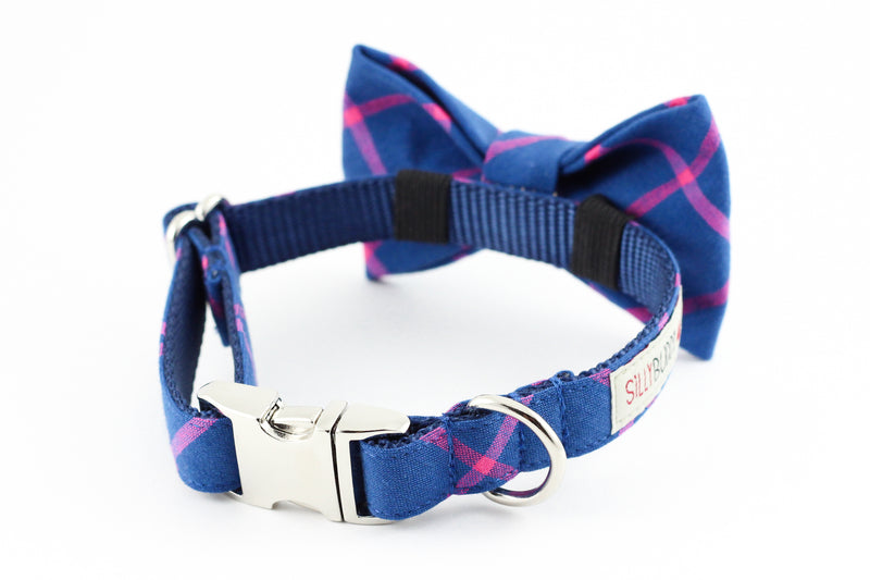 Navy blue and pink simple plaid dog bowtie collar.