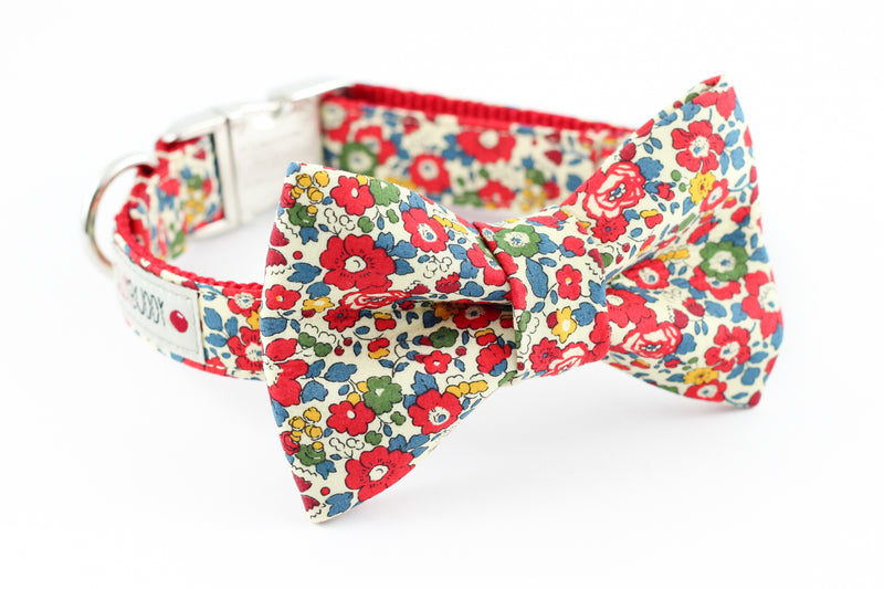 Red, blue, yellow and green floral, liberty of london print dog bowtie collar