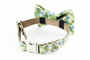 Celery green and blue daisies floral, liberty of london print dog bowtie collar