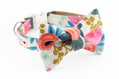 Red, pink, blue, green, mustard yellow floral print, rifle paper co. cotton canvas dog bowtie collar.