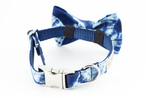 Navy blue and white shibori print dog bowtie collar.