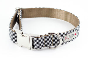 Black Gingham Dog Collar