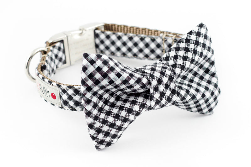 Black and white gingham dog bowtie collar.