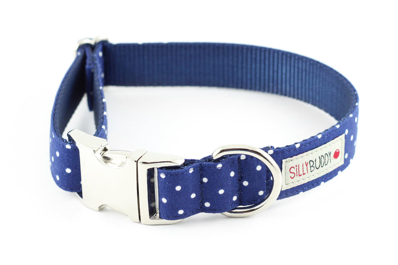 Navy Dot Dog Collar