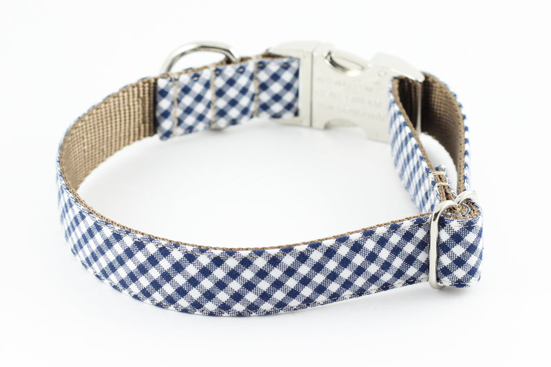 Navy Gingham Dog Collar