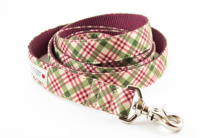 Burgundy Plaid Leash