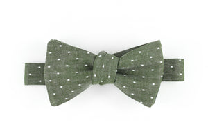 Chambray Olive Dot Bowtie for Human
