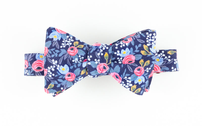 Rosa Floral Navy Bowtie for Human
