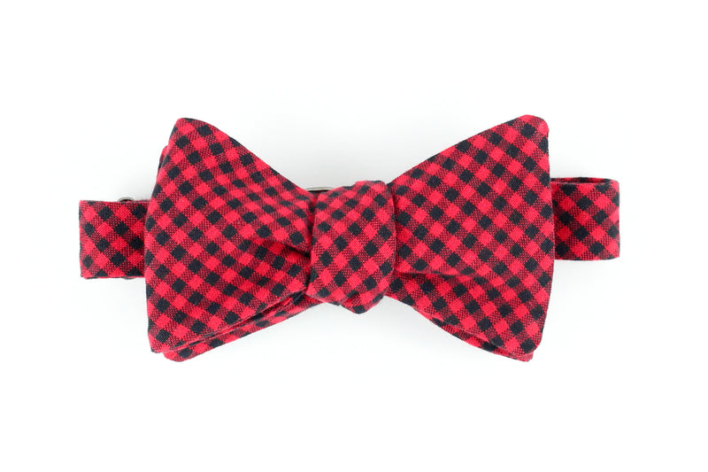Red Mini Buffalo Plaid Bowtie for Human