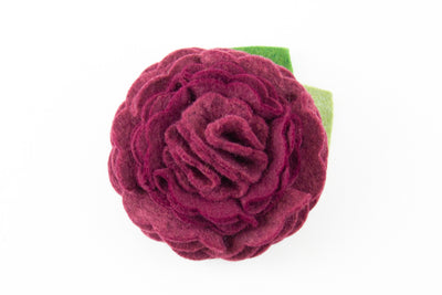 Burgundy Dog Collar Flower