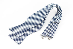 Navy Gingham Bowtie for Human