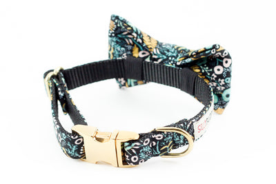 Black, teal and gold floral print, rifle paper co. dog collar with bowtie.