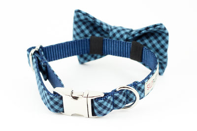 Navy blue and light blue gingham dog bowtie collar.
