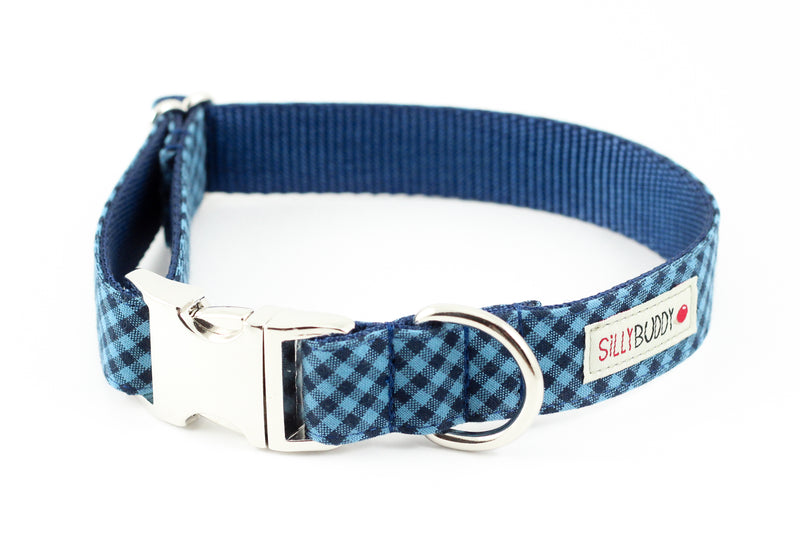 Blue Navy Gingham Flower Collar