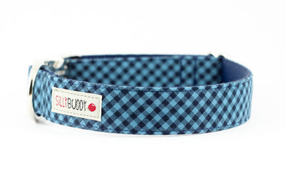 Blue Navy Gingham Collar