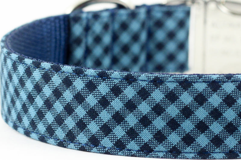 Blue Navy Gingham Leash