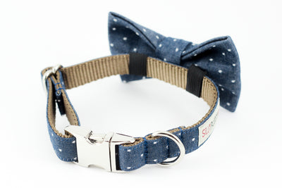 Navy blue polka dot chambray dog collar with bowtie.