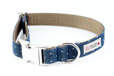 Chambray Indigo Dot Bowtie Collar