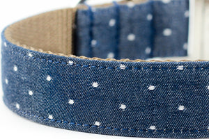 Chambray Indigo Dot Collar
