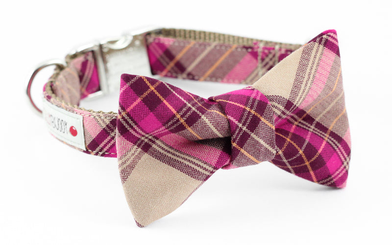Hot pink, burgundy, brown plaid dog collar with bowtie.